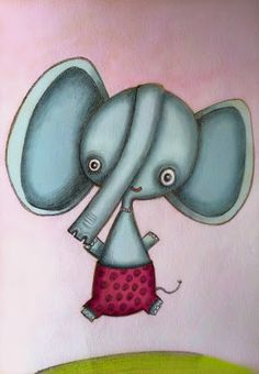 El pulpo con lápiz - Illustration: The black and white friday's elephant was a bit sad, so he got colours too!