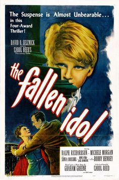 The Fallen Idol dir. by Carol Reed (1948). Elegantly balancing suspense and farce, Carol Reed and Graham Greene's tale of the fraught relationship between a boy and the beloved butler he suspects of murder is a delightfully macabre thriller of the first order and a visually and verbally dazzling knockout.