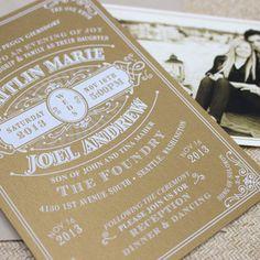 Vintage Typography Wedding Invitation (White Ink)