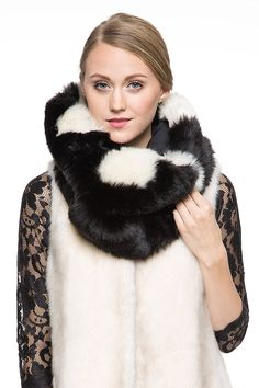Adelaqueen Women's Fabulous Faux Fur Scarf Stylish loop Black Infinity Neck Warmer at Amazon Women's Clothing store: