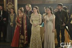 "Reign -- ""Blood for Blood"" -- Image Number: Re205b_0011r.jpg -- Pictured (L-R): Megan Follows as Catherine de Medici, Toby Regbo as King Francis II, Adelaide Kane as Mary, Queen of Scotland and France, Anna Popplewell as Lola and Torrance Coombs as Bash -- Photo: Ben Mark Holzberg/The CW -- © 2014 The CW Network, LLC. All rights reserved."