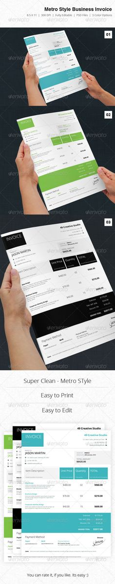 Invoice Templates Vol-12 Template, Business proposal and Ui ux - invoice style