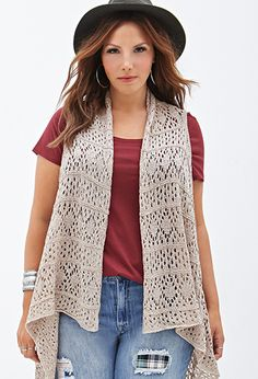 OMG, the 90's are back!  //  Crocheted Open-Front Vest | FOREVER21 PLUS - 2000138203