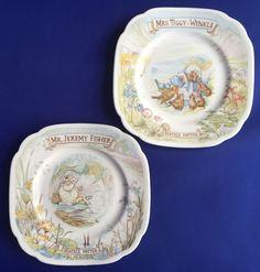 2 Royal Albert Beatrix Potter Plates Jeremy Fisher Tiggy Winkle England 1986 VTG #RoyalAlbert # & Peter Rabbit Wedgwood Bowl and Plate Beatrix Potter England Etruria ...