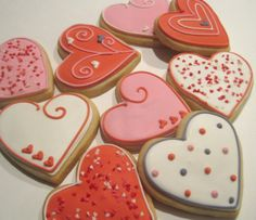 Valentine+cookies+decorated+hearts+by+RPConfections+on+Etsy,+$29.00