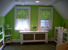 Cheery green. (Unable to pin from source site because the image isn't appearing for some reason, so here's the URL: http://www.keywordpicture.com/keyword/decorating%20attic%20rooms/)