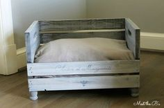 This stylish DIY crate pet bed is  perfect for the pampered pooch and so easy to make.