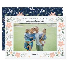 Floral Frame Holiday Photo Card in White - diy cyo customize create your own personalize