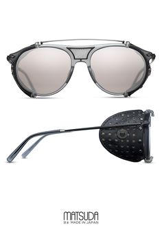 features a modified aviator combination sunglass with detachable leather side shield clip Cool Glasses, Mens Glasses, Crown Logo, Steampunk Sunglasses, Optical Glasses, Grey Stone, Aviators, Specs, Eyeglasses