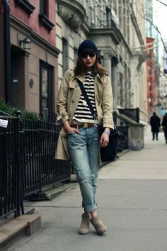 My favorite way to wear jeans-- beanie, stripes, trench, messenger, and boots. #dreamindenim  Natalie off duty