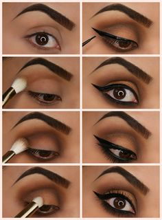 Too Faced Semi-Sweet Chocolate Bar Palette Tutorial:  1. Prime lids to ensure colors remain vibrant all day long.  2. Apply Mousse with a blending brush on the crease and brow bone.  3. Apply Cocoa Chili along the crease and the lower lash line, then blend with a fluffy brush to smoke it out.  4. Apply Caramel on the center of the eyelid to highlight and brighten.  5. Create a dramatic wing with liquid liner.  6. Finish by applying a few coats of Better than Sex Mascara!  (from…