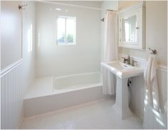 tiny bathroom with white subway tile and marble mosaic on floor - Google Search