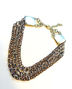 Opal White Beaded Necklace  Chunky Copper & by ShamelessStatements