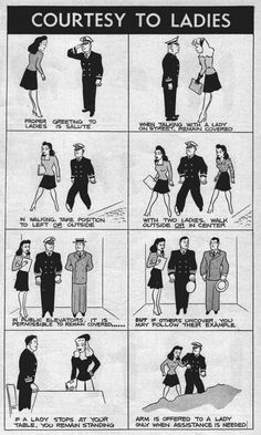 """Courtesy to Ladies"" ~ WWII infographic on how men in uniform should treat the ladies from the Bureau of Naval Personnel Information Bulletin. Published in ""All Hands Magazine"", August 1944."