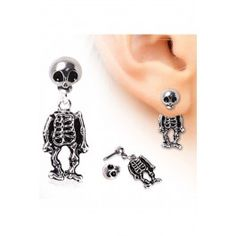 Surgical Steel Two-Piece Skeleton Dangle Earring Jewelry Stores, Jewelry Box, Jewelery, Women Jewelry, Tattoo Clothing, Surgical Steel Earrings, Inked Shop, Women's Earrings, Dangles