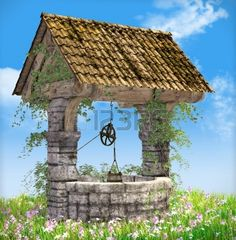 Picture of Well on a spring meadow illustration stock photo, images and stock photography. Gazebo, Pergola, Low Poly Models, Wishing Well, Commercial Design, Top View, Royalty Free Photos, Grass, Wellness