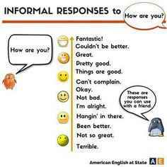 """Informal responses to """"How are  you?"""""""