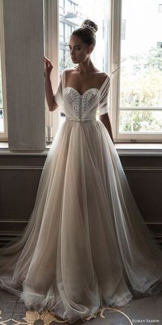 elihav sasson spring 2018 bridal illusion half sleeves sweetheart beaded bodice ball gown wedding dress (vj 006) mv train princess romantic -- Elihav Sasson 2018 Wedding Dresses