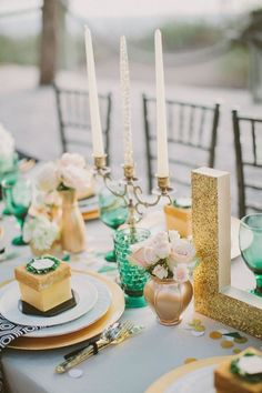 Emerald and green is a very elegant and bold color scheme for wedding decor. It's great for Great Gatsby themed weddings, for Wizard of Oz, for winter and spring weddings because the color combo is so enjoyable!