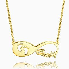 07cf452d7856 Regalo para Nueva Mamá - Collar de Nombre de Infinidad con Huella de Bebé  Plata Chapado