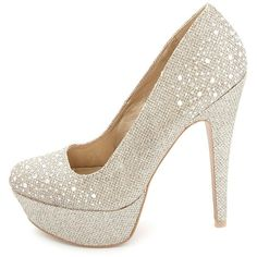 Charlotte Russe Glitter Mesh Rhinestone Platform Pumps (22 AUD) ❤ liked on Polyvore featuring shoes, pumps, heels, sapatos, high heels, champagne, round toe pumps, glitter platform pumps, platform pumps and stiletto pumps