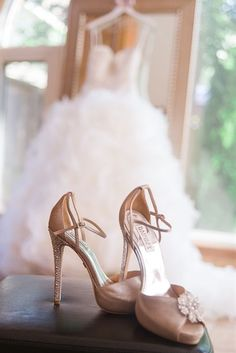 Love the shoes as the focus with the dress in the background! - Click image to find more weddings posts
