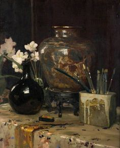 Still Life: Persian, Japanese, Dutch by James Paterson The Potteries Museum & Art Gallery Date painted: 1918 Oil on canvas, x 48 cm Collection: The Potteries Museum & Art Gallery Painting Still Life, Still Life Art, Paintings I Love, Your Paintings, Floral Paintings, George Henry, Museum Art Gallery, Art Museum, Still Life Flowers