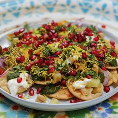 Papdi Chaat Layer upon layer of extreme flavour!<br> Layer upon layer of extreme flavour! Veg Recipes, Spicy Recipes, Recipes For Snacks, Jain Recipes, Paneer Recipes, Healthy Recipes, Iftar, Papdi Chaat, Kitchen