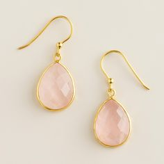 Sterling Silver Gold and Rose Quartz Drop Earrings | World Market