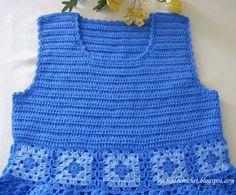 Magia do Crochet: Vestido em crochet - azul com quadradinhos