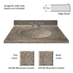 Cultured Granite Vanity Top In Mountain Color With Integral Backsplash And  Mountain Bowl | Granite Vanity Tops And Products