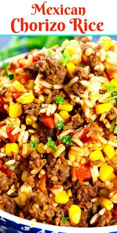 Mexican Chorizo Rice - - Mexican Chorizo Rice is a fully flavored and spicy rice dish that goes great with tacos, quesadillas, burritos, you name it! It's loaded with fresh chorizo sausage. Authentic Mexican Recipes, Mexican Food Recipes, Dinner Recipes, Spicy Mexican Food, Recipes With Rice, Mexican Fried Rice, Rice And Beans Recipe, Chorizo Recipes, Beef Recipes