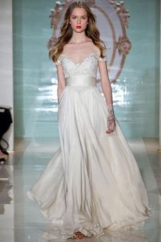 46 wedding dress pictures to lover, including this off-the-shoulder, short sleeve style with a thick satin belt.