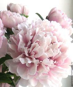 """Купить Пион """"Сара Бернар""""из полимерной глины - бледно-розовый, розово-сиреневый, пион"""