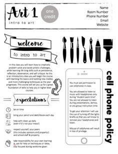 Art Syllabus Editable (High school or Middle school) - Art Education ideas High School Art, Middle School Art, School School, School Ideas, School Lessons, Art Lessons, Programme D'art, Art Syllabus, Syllabus Template