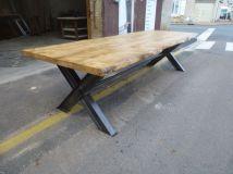 table industrielle de salle manger pieds ipn en x plateau rable