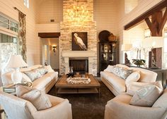 Living Room. Living Room Design. Coastal rustic inspired Living Room. The fireplace stone in this living room is called weathered limestone. #LivingRoomDesign #LivingRoomIdeas #LivingRoomIdeas