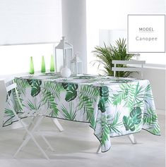 Obrusy na stôl s motívom zelených listov Dining Table, Tropical, Decoration, Furniture, Polyester, Home Decor, Material, Products, Composition