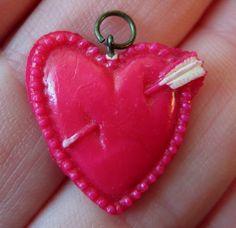 Vintage Heart & Arrow Celluloid Charm