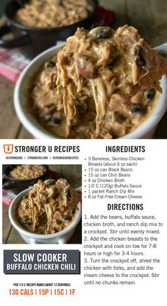 A Stronger U favorite, this buffalo chicken chili is super easy for bulk meal prep. Crockpot Recipes, Diet Recipes, Cooking Recipes, Healthy Recipes, Chicken Recipes, Protein Recipes, Healthy Options, Recipes Dinner, Cooking Ideas