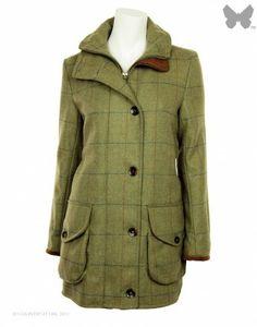 Beaver of Bolton Ladies' Cairngorm Tweed Field Jacket - Tan / Olive / Blue