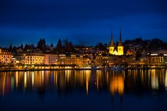 Night time cityscape of Lucerne