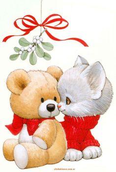 Kitten and Teddy Bear under the Mistletoe Christmas Teddy Bear, Christmas Animals, Christmas Cats, Christmas Clipart, Vintage Christmas Cards, Christmas Pictures, 2 Clipart, Cute Clipart, Cute Pictures