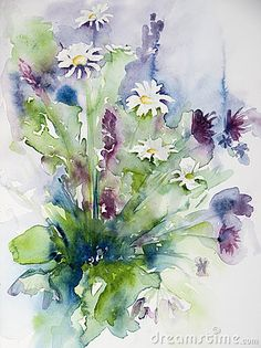 watercolor of a beautiful bunch of wild flowers on paper.