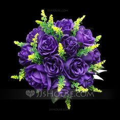 Refined Round Satin Bridesmaid Bouquets (123031486) - JJsHouse