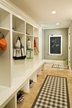 Marvelous Framed Chalkboard mode Dc Metro Traditional Entry Image Ideas with baseboards chalkboard custom built-ins green pattern mudroom recessed lighting tile floor white trim