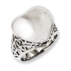 Ladies Chisel Stainless Steel Antique Finish Flower Ring Size 6 to 8
