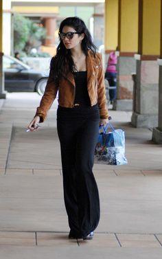 Vanessa Hudgens - brown suede jacket and maxi