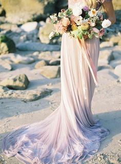 Wedding Dress Designers & Inspiration : Ethereal Seaside Wedding Inspiration with a Lavender Wedding Dress Lavender Wedding Dress, Ombre Wedding Dress, Green Wedding Dresses, Green Wedding Shoes, Purple Wedding, Wedding Gowns, Bridal Gowns, Bridal Shoot, Wedding Bridesmaids