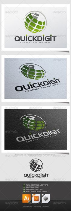 Quick Digit Logo  #GraphicRiver         Abstract and dynamic logo. Can be used for many kind of project as, Internet, communications, technology solutions… Full vectors, this logo can be easily resize and colors can be changed to fit your project. A flat version for print is also included. The font used is in a download file in the package.   Font :  .fontpalace /font-details/Hanzel+Normal/   Files provided : .ai (CS6 and CS), .eps, .jpg, .png (transparent)     Created: 22April13…
